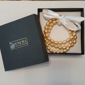 Honora 3 Bracelet Real Pearl Set.
